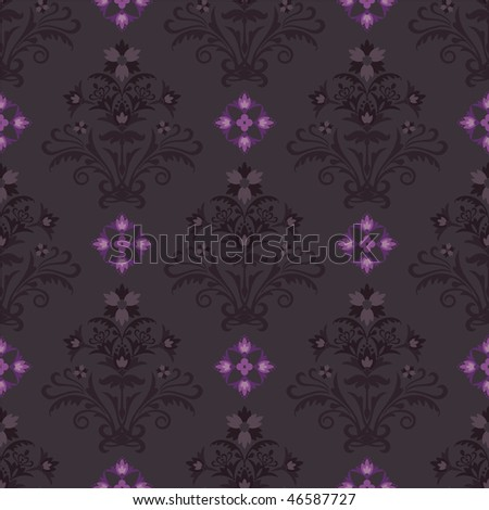 Seamless brown and pink floral wallpaper
