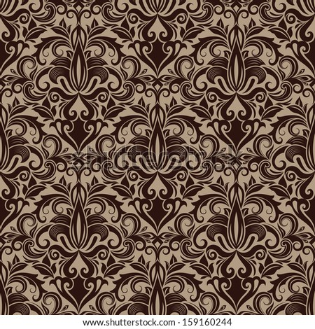 seamless brown floral vector