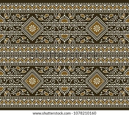 Seamless brown traditional indian border #1078210160
