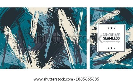 Seamless brush stroke pattern. Camouflage background
