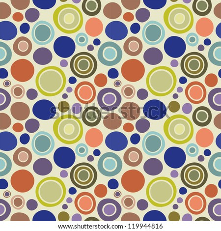 Seamless bubbles pattern: colored doodle circles - blue, red, yellow, brown, violet