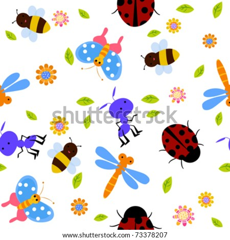 seamless bug pattern - stock vector