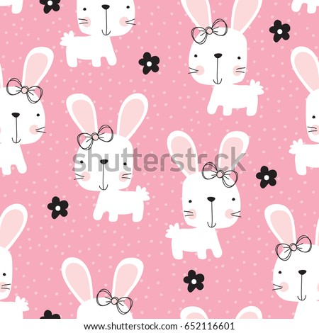 seamless bunny rabbit pattern vector illustration ez canvas