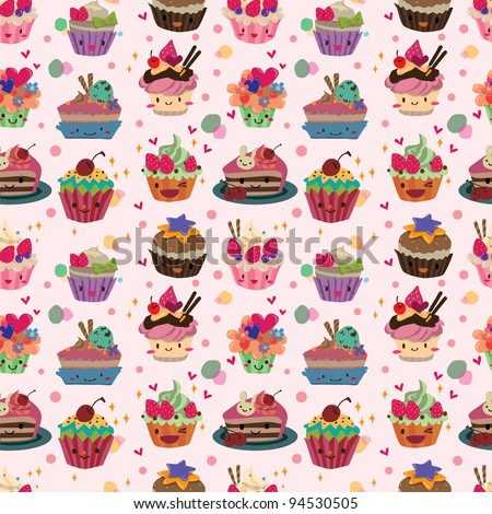 seamless cake pattern - stock vector