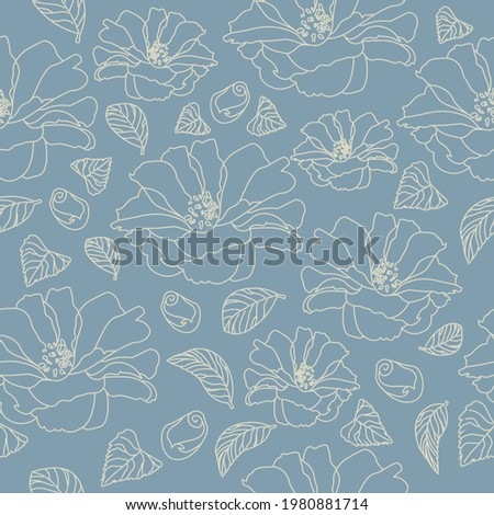 Seamless Camilla Flowers Pattern Hand Drawn Vector Illustration. Floral design for fabric, wrapping paper, textile and wallpaper. Spring and summer Concept Foto stock ©