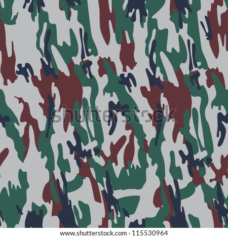 Seamless Camouflage Dark Green and Brown Pattern for Forest or Woodland