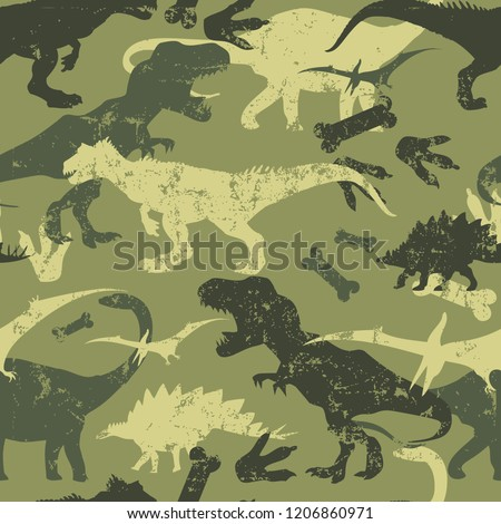 Seamless  camouflage Dino pattern, print for T-shirts, textiles, wrapping paper, web. Original design with t-rex, dinosaur.  grunge design for boys and girls