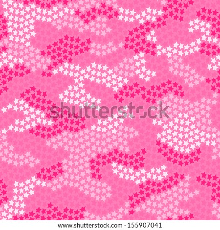 Seamless camouflage pattern made of small stars in pink colors