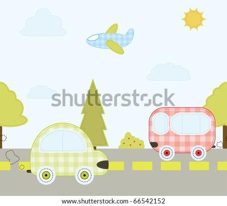 Seamless car pattern. Vector illustration
