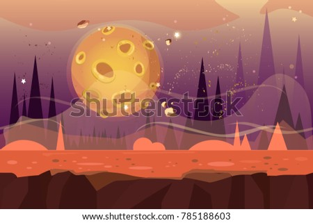 seamless cartoon alien desert