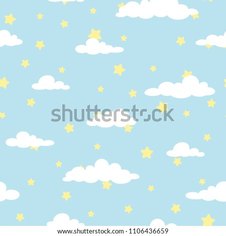 Seamless cartoon background with white clouds and yellow stars on blue sky. Overcast pattern. Vector illustration. Childish cute wallpaper.