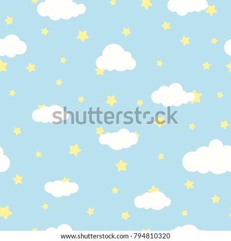 stock-vector-seamless-cartoon-background-with-white-clouds-and-yellow-stars-on-blue-sky-overcast-pattern