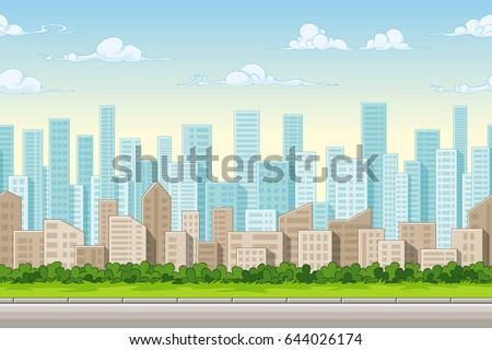 Seamless cartoon city background. Vector illustration with separate layers.