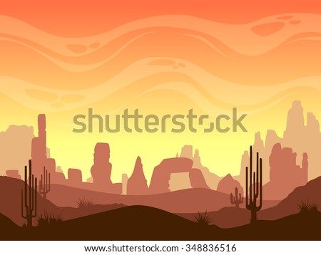 Seamless cartoon desert landscape, vector layered game background for parallax effect