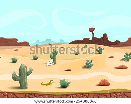 seamless cartoon desert