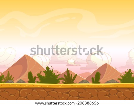 Seamless cartoon desert landscape, vector unending background with ground, bushes, sand-dunes  and sky layers