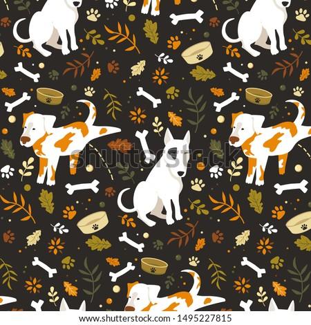 seamless cartoon dogs pattern