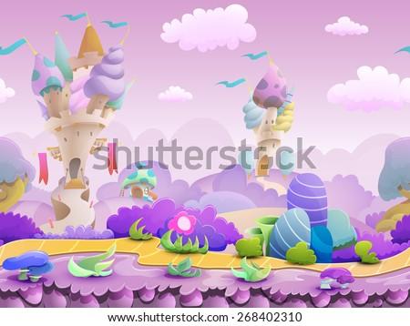 stock vector seamless cartoon fairytale landscape vector unending background with ground castles plants and 268402310 - Каталог — Фотообои «Для детской»