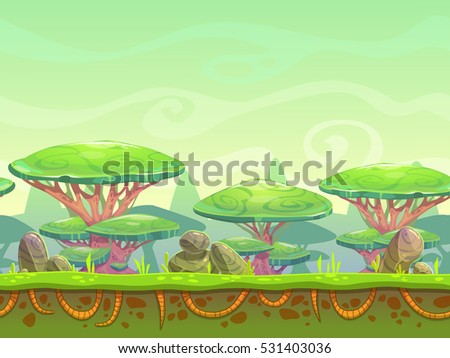 Seamless cartoon horizontal landscape with fantasy plants and stones. Separated layers for parallax effect in animation. Vector outdoor illustration for game design.