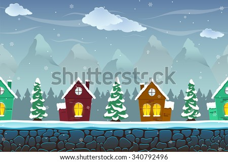 Seamless cartoon landscape with fir-trees and funny houses. Vector unending background with separated layers ready for game and animation. Vector illustration.