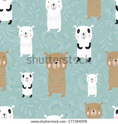 Seamless cartoon pattern with bears Panda polar bear and a Russian bear