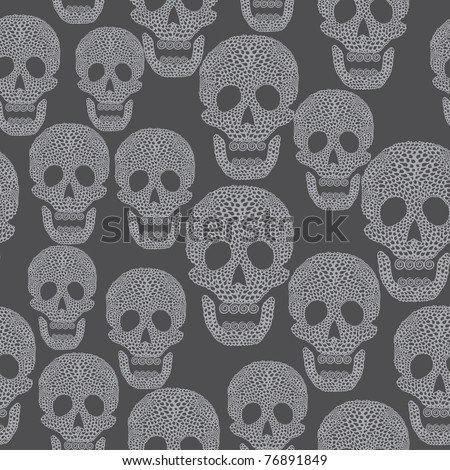 Seamless cartoon pattern with skull. Background in grey colors with skull. - stock vector
