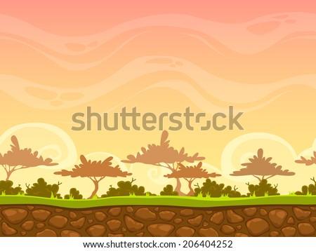 seamless cartoon savanna