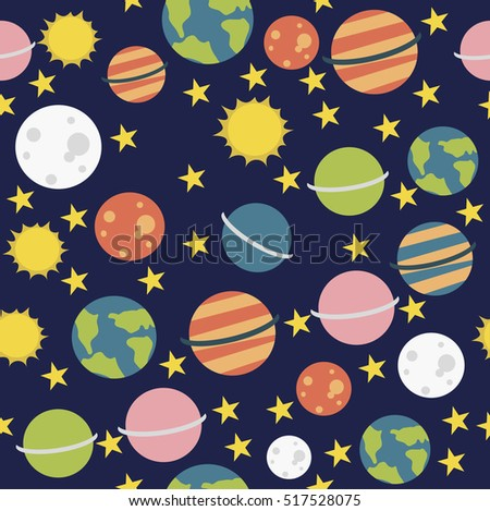 Seamless cartoon space pattern with rockets, planets, stars. Vector illustration
