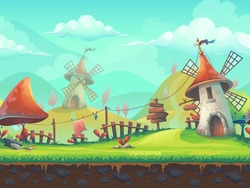 Seamless cartoon stylized vector illustration on the theme of the European landscape with a windmill. For print, create videos or web graphic design, user interface, card, poster.