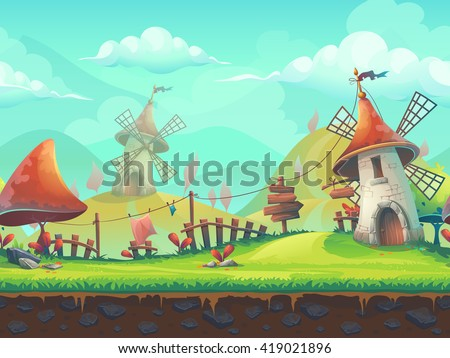 Seamless cartoon stylized vector illustration on the theme of the European landscape with a windmill. For print, create videos or web graphic design, user interface, card, poster. #419021896