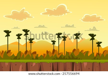 seamless cartoon tropical