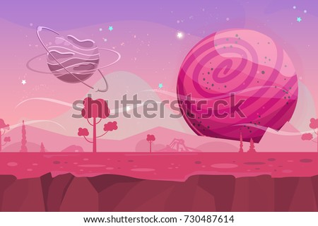 Stock Photo Seamless cartoon vector landscape. Vector endless background with ground, planet, trees, stars. Fantasy sci-fi background for UI Game. Illustration of a cartoon sci-fi alien planet landscape.