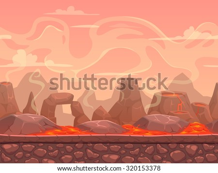 seamless cartoon volcano desert