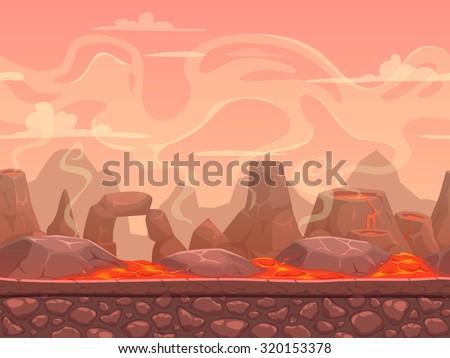 seamless cartoon volcano desert