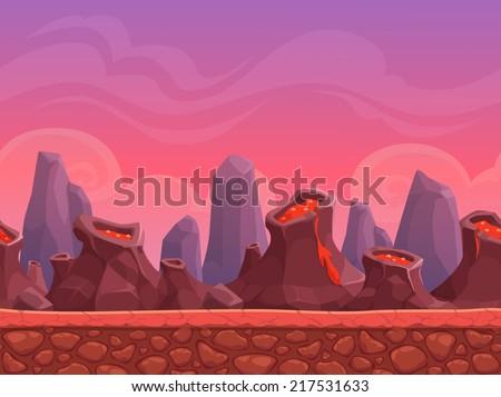 seamless cartoon volcano