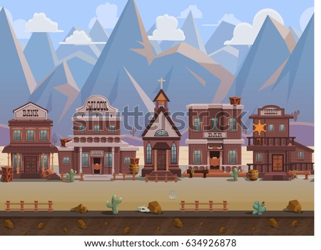 Seamless cartoon wild west town, western landscape, vector unending background with separated layers for game.