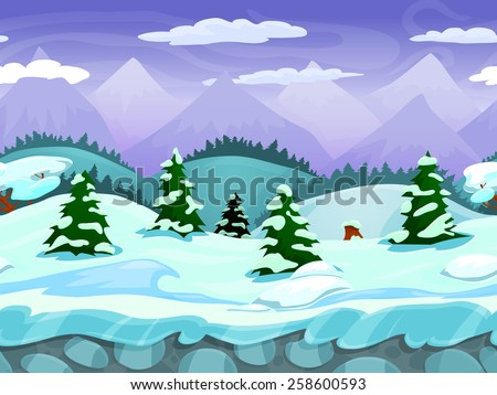Seamless cartoon winter landscape, vector unending background with ice, snow hills, mountains, clouds and sky layers.