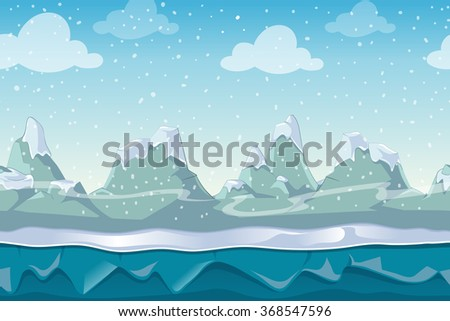 Seamless cartoon winter vector landscape for computer game. Snow and sky mountain, outdoor environment illustration