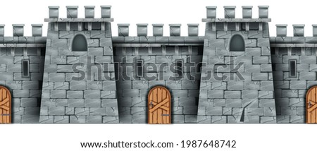 Seamless castle wall background, medieval vector stone fortress facade, wooden door, windows. Game brick fortification texture, old tower, historical citadel wallpaper. Castle wall, closed entrance Photo stock ©