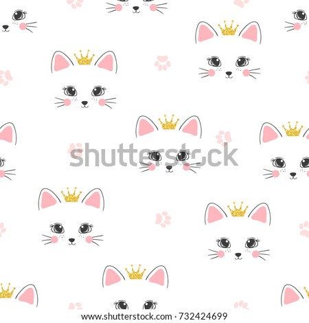 seamless cat princess pattern