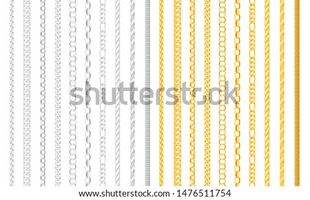 Seamless chain borders. Gold and silver chains elements, vector golden jewellery endless objects for necklaces and chains isolated on white background