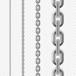 Seamless chain pattern. Silver metallic chain texture. vector illustration isolated on transparent background