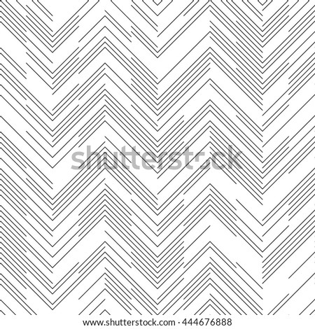 Seamless Chaotic ZigZag Pattern. Abstract Monochrome Chevron Background. Vector Regular Line Texture