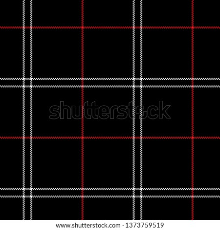 Seamless check plaid pattern vector in black, white, and red. Seamless tartan pixel plaid for fashion textile print design.
