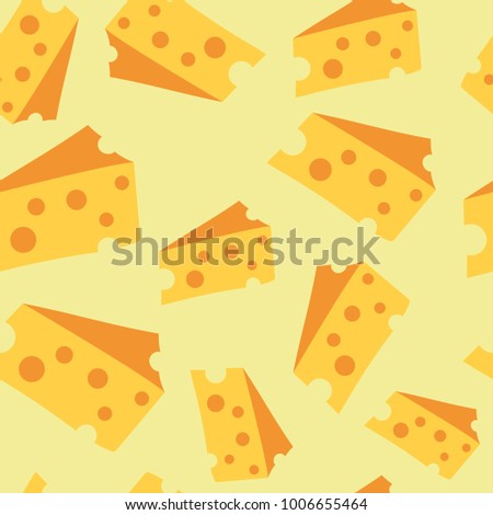 Seamless cheese pattern in yellow color. Very cheese background. Vector illustration in eps 10. Color pieces of cheese in cartoon style.