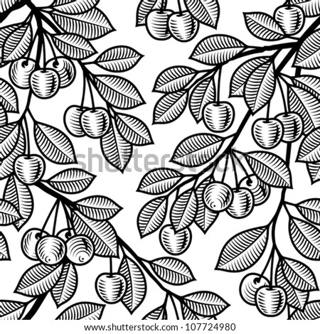 Seamless cherry background black and white. Vector