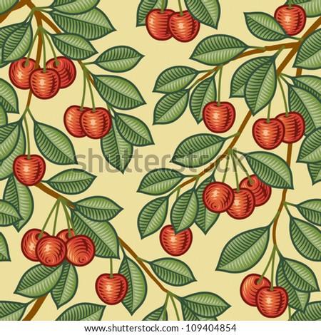 Seamless cherry background. Vector