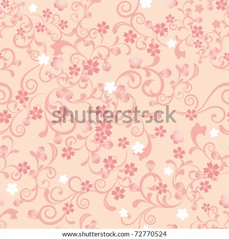 Seamless cherry blossom pattern. Illustration vector.