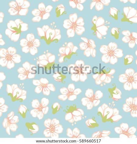 seamless cherry flowers pattern