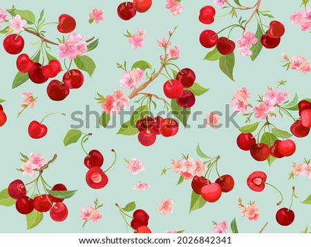 seamless cherry pattern with
